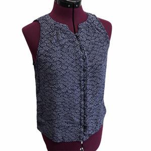 A NEW DAY sleeveless blouse top navy dot
